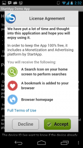 The Startapp opt-in dialog