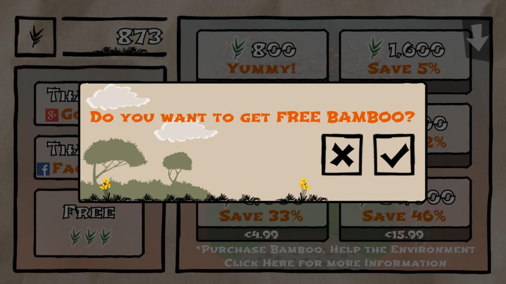 Tumble Panda's free bamboo dialog